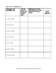integer worksheet intro to adding integers 2 by dawn designs tpt