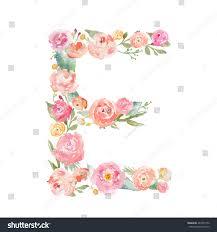 e flowers watercolor floral monogram letter e on stock illustration