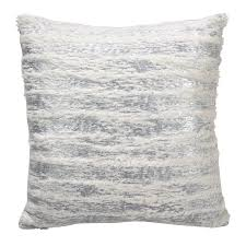 home design down pillow faux fur with brushed metallic foil print down filled throw pillow