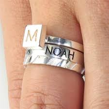stackable mothers rings with names mothers stackable name ring with birthstone