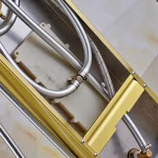 bathroom wall mounted gold plated thermostatic shower panel mixer