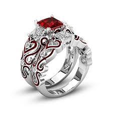 diamond red rings images Goodtrade8 2 pack women wedding ring set red diamond jpg