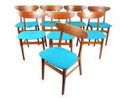 set of 8 mid century modern teak dining chairs turquoise blue wool