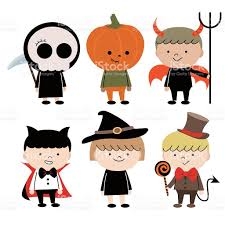 group of multi ethnic children in halloween costume stock vector