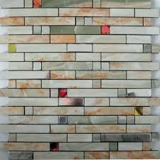 Metallic Kitchen Backsplash Interior Adhesive Mosaic Tiles Strip Silver Aluminum Kitchen