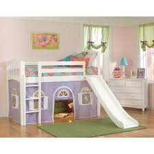 Low Loft Bunk Bed White Low Loft With Lilac And White Bottom Curtain