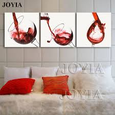 red wine canvas painting 3 piece wall art spilled cup print modern