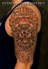 posts half sleeve aztec tattoo design for men aztec half sleeve