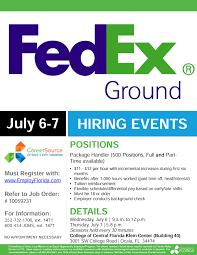 fedex hiring event july 6 7 at cf 500 ft pt open