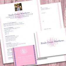 Digital Resume Digital Printable Sorority Recruitment Packet With Photo And