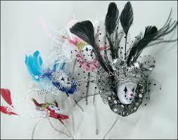 purple chicken feather white ostrich feather carnival headdress