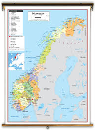 Map Of Norway Norway Political Educational Wall Map From Academia Maps