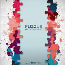 puzzle pieces and colorful paint splashes background vector free