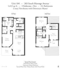 3 Bedroom 2 1 2 Bath Floor Plans Evanston Court Pasadena