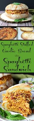 spaghetti stuffed garlic cheese bread aka spaghetti