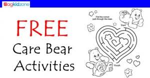 free care bear activity sheets