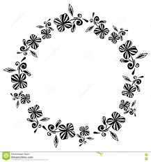 Art Frame Design Black And White Hand Drawn Flower Vintage Design Wreath Stock