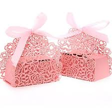 favor ribbons 100 pack roses flowers laser cut favor candy box bomboniere with