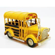 decoration vintage americaine décoration retro bus americain en tôle jaune vintage style