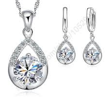 white gold necklace set images Elegant jewelry set pure 925 sterling silver white gold earring jpg