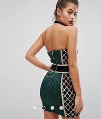 green gold black premium strapless embellished mini dress on tradesy