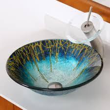1309 elite modern design tempered glass bathroom vessel sink