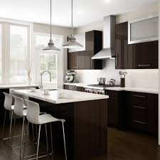 inspirations dark wood and white cupboards cabinets in kitchen