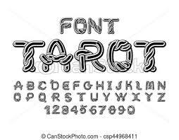 vector clip of tarot font traditional ancient manuscripts