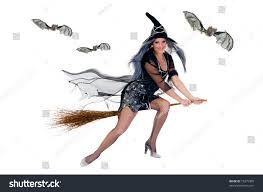 halloween flying witch background young attractive halloween witch flying on stock photo 19275385