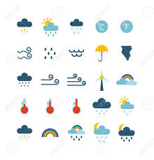 travel forecast images Weather icons thin line style flat design travel storm fog cold jpg