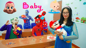 blue spiderman learn colors w superman study care baby clown
