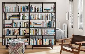 Bookcase In Wall Dahl Open Bookcases In Charcoal Modern Living Room Furniture