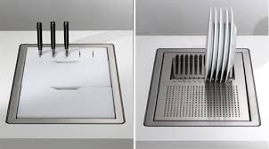 dish drainer for small side of sink made with small spaces in mind this sink has two sliding trays