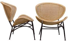 Wicker Lounge Chair Vintage Wicker Lounge Chairs A Pair Chairish