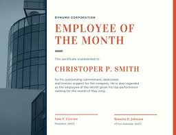 red corporate employee of the month certificate templates by canva