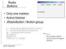 gui swing itec 109 lecture 27 gui interaction review gui basics jframe