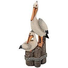 wooden pelican outdoor statues garden outdoor