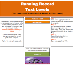 running records text levels 1 30 u0026 fountas u0026 pinnell a z