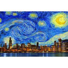 chicago wall graphics zapwalls zapwalls decals starry night chicago skyline wall graphic