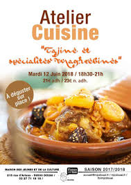 cuisine maghrebine mardi 12 juin atelier cuisine tajine et spécialités maghrebines