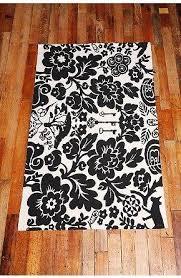 Damask Area Rug Black And White Black And White Damask Printed Rug