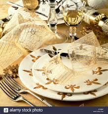 Gold Table Setting by A Special Gourmet Feast Table Setting With White And Gold Fleur De
