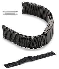 black mesh bracelet images Black stainless steel metal shark mesh bracelet watch band strap gif