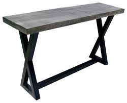 Iron Console Table Solid Mango Wood Cast Iron Accent Table Distressed Gray Rustic