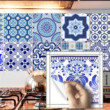 self adhesive wallpaper blue funlife blue and white porcelain tile sticker waterproof