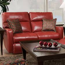 furniture comfortable three seater red leather recliner for