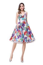 summer style 2017 a line floral print halter knee length