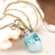glass bottle necklace images Blue sea glass bottle necklace jpg