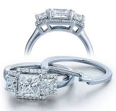 Wedding Ring Sets For Her by Half Carat Princess Three Stone Wedding Ring Set For Her In White