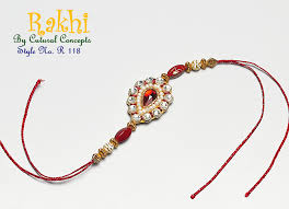 traditional red stone rakhi from the exclusive home decor and home